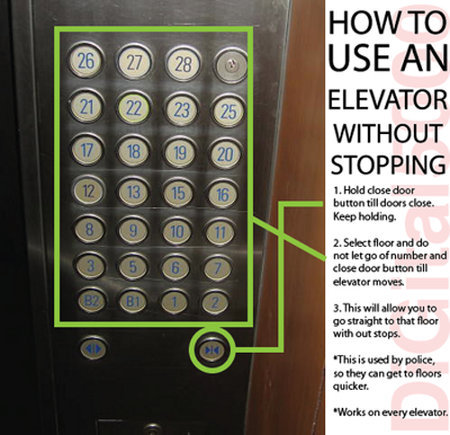 Later, Suckers!: How To Skip All The Other Floors When Riding In An Elevator - Geekologie via fleetfootedfox Haven't tried but seems cool if you are on a hurry to work.