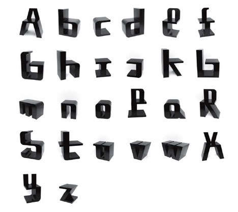 I want them all, but where to put them… hmm? » Alphabetical Seating: Set of 26 Letter-Shaped Kids' Chairs | Dornob