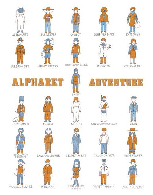 bookspaperscissors:  leftyheart:  Alphabet Adventure