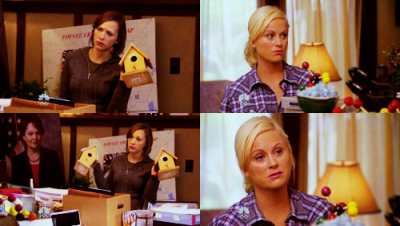 talking-bird:  Ann: What do you need this birdhouse for? Leslie: …Uh… Ann: Can we get rid of it? Leslie: …I might need it. Ann: What about this one? Leslie: Well, if two birds come along…