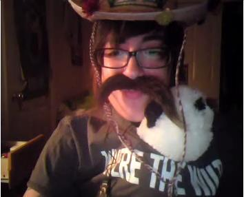 lesbianinsomnia:  i love pandas i love fake mustaches i love her this picture is heaven. lol
