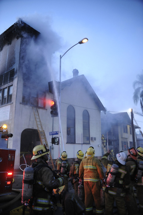 The City boys putting in work on a church fire in Downtown Los Angeles.