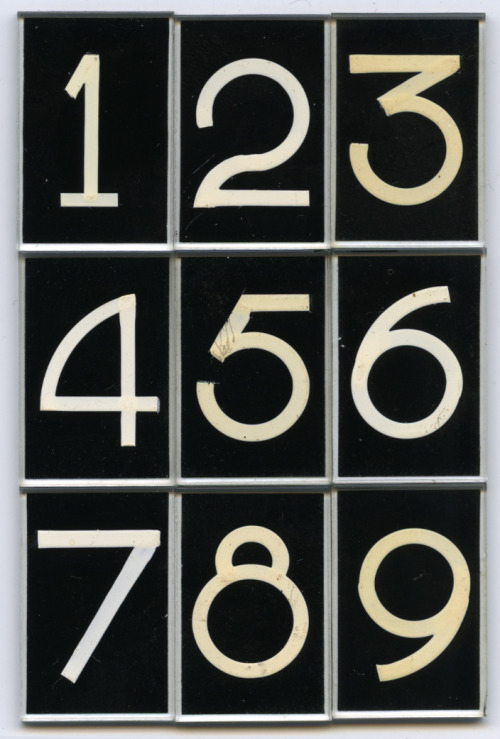 "freakyfauna:Glass lettering by Pootjesglas, Hilversum, circa 1960. Font name ""DIK CIJFER"", Size #3, white on black. Collection Piet Schreuders"