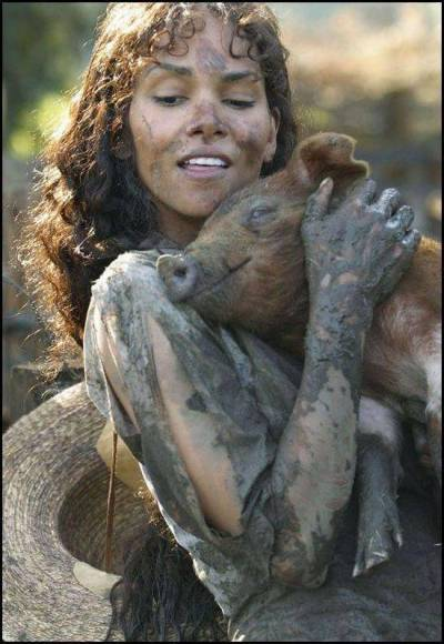 Halle Berry with pig!