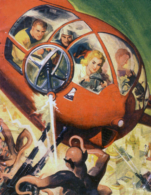 You drive, honey, I'll shoot. Pulp Cover, 1942