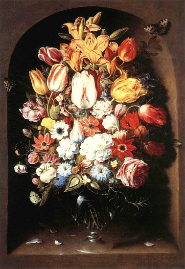 Osias Beert Bouquet in a Niche 17th century