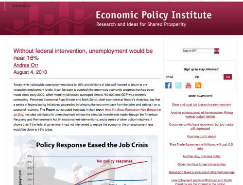 The Economic Policy Institute has an interesting report on the impact of Federal government intervention on unemployment.