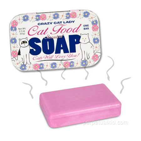 fyeahstrangefinds:  Cat Food Soap for Crazy Cat Ladies Bathing with this pungent soap will ensure that you are constantly in the company of cats.  Perfect for crazy cat ladies and other feline enthusiasts!  What?.. You only have 3 cats?!?!? (Source)  THIS IS FOR MY FAT PEACHHH