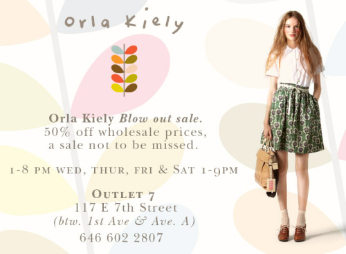 Hey Orla fans, we're having a fantastic blowout sale! 50% off of wholesale prices here in our NYC store. Come and get your favorite Orla dresses, handbags, coats, bath sets, swimming suits, and more… this weekend and next (8/13 - 8/21). Check out our Facebook page for more info: http://www.facebook.com/OutletSeven