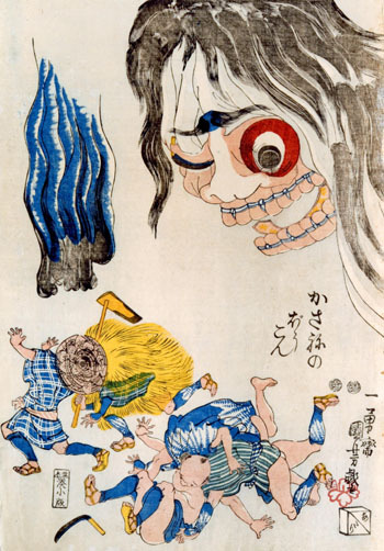 "Kasane no Boukon 『かさねのぼうこん』 (ca. 1847-1852)UTAGAWA Kuniyoshi 歌川 国芳 (1797-1861) The Japanese say that the heat of summer is the best time for ghost stories, as the little tingle they give you helps to fight the heat.  In fact, during the Edo Period (1600-1868), there was a summertime pass time known as ""One Hundred Tales"" 百物語.  In it, a group of friends would light a group of candles in a dark room.  People would then take turns telling ghost stories; at the end of each story, they would snuff out one candle, making the room progressively darker. By the time all the candles were out, one was practically guaranteed to see a ghost! It is with that in mind that I thought I would share this story that I read in the newspaper this morning.  A print by the artist Utagawa Kuniyoshi, who is sometimes referred to as ""the master of the bizarre,"" was recently rediscovered in Tokyo.  The painting shows a gigantic female ghost which is comprised of the bodies of many individual men.  (Psychoanalysts could have a lot to say here.)  Below that are a bunch of terrified men running away in every direction.  Below, I have pasted an article from The Japan Times.Click here for another article about the same story in Japanese.   Saturday, Aug. 14, 2010Master Woodblock Print FoundKyodo NewsA color woodblock print depicting a female ghost by ukiyo-e master Utagawa Kuniyoshi that disappeared before the war has recently been confirmed as in the possession of a researcher in Tokyo.The print, ""Kasane no Boukon,"" depicting the apparition of a woman named Kasane, is ""a work of Kuniyoshi's mature period and is extremely rare in that it conveys colors as if it was an initial print,"" said Toshihiko Isao, an oil painter.The print, 36 cm high and 25 cm n wide, is owned by Isao Shimizu, who studies cartoons and satirical drawings. Shimizu bought it from an art dealer in Tokyo in summer 2007 and has since been working to confirm its authenticity.Isao said the print was last seen in a black and white photo in an art book issued in 1931.The ghost's face is depicted using a collage of images of human bodies in various forms, as well as tools. Given that the print bears a seal issued by the shogunate for publication, it is believed it was produced sometime between 1847 and 1852."
