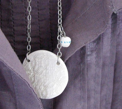 Porcelain lace edging pendant by NiuTaller on Etsy