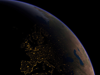 EUROPE AT NIGHT Illustration credit and copyright: Planetary Visions Ltd.Courtesy: Kevin M. Tildsley, NASA Explanation here.