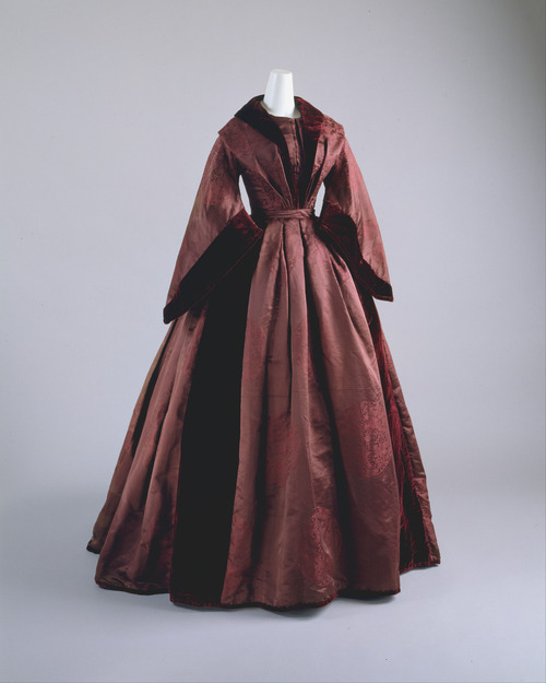 Dress | c. 1850 This makes me want to take a ride in a one horse open sleigh.