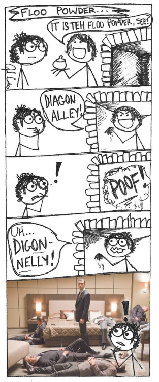 hplolz:  Harry Potter's first experience with Floo Powder.