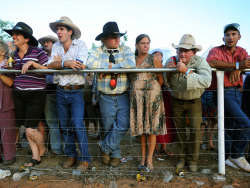 Almaden bush races The traditional Australian bush race meeting is almost a thing of the past, but Almaden, a north Queensland town with a population of just 30, has bucked the trend. Amateur jockeys race on stock horses in sprint races, with bettors 'buying' the horse for the race at auction Photographer: Brian Cassey/AP