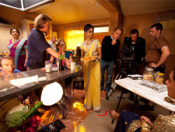Behind the scenes at 3 Mills Studio, London Actors Meera Syal, Christine Bottomley, Amara Karan and Shaheen Khan  wait in between takes for Rafta, Rafta – the first UK Film  Council-funded production to begin shooting since the announcement of  plans to scrap the body