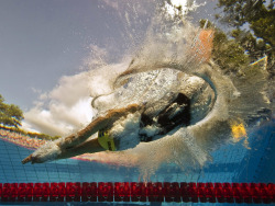 Dive in An underwater camera catches Sarah Sjöström of Sweden, fourth in the women's 100m freestyle final at the European swimming championships in Budapest, Hungary Photographer: Francois Xavier Marit/AFP/Getty Images