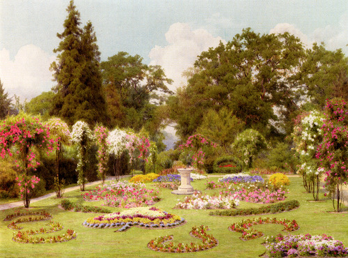 stellar-raven:  The Rose Garden (Date unknown) by George Marks (1857-1933).