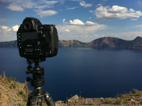 It's a beautiful day to run off a time lapse or three or five at Crater Lake today. The best part about doing a time lapse is that once you've set it up, you can chill out for a while and drink the scenery in.  Funny side note: everybody that stops at this outlook is walking up to get a shot from this same angle. A camera on a tripod is a magnet.