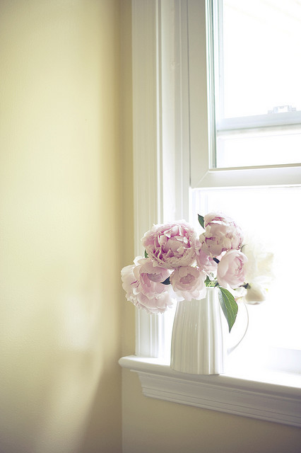 pink flowers in a white vase = perfection