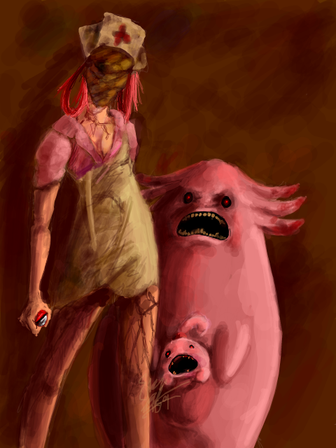 gamefreaksnz:  (via -joy) Silent Hill/Pokémon mashup of the day.