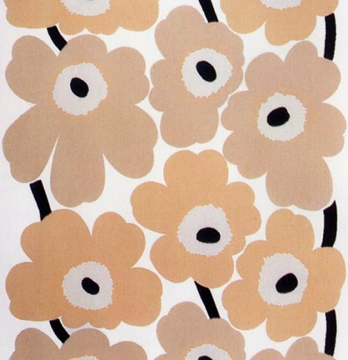 Unikko (in camel) by Maiji Isola (1964+) Growing up, one of the homes we lived in had a Unikko print by Isola as the kitchen wallpaper - or something similar - but in bright red, orange, yellow & black.  The camel color I downloaded was me reclaiming the design - but in beige. -downloaded Wednesday, August 10th, 2005 - from first, old ThinkPad -