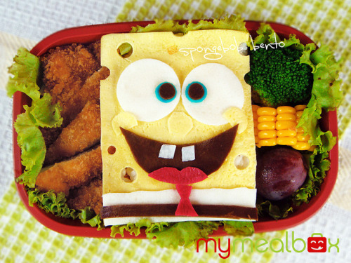 How clever to create SpongeBob out of swiss cheese. click for link to this and more clever bento lunches