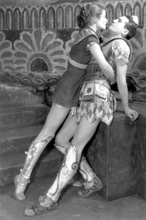 oldhollywood:  Katharine Hepburn as Amazon warrior princess Antiope & Colin Keith-Johnston as Theseus in stage production of The Warrior's Husband (1932) (via corbis)