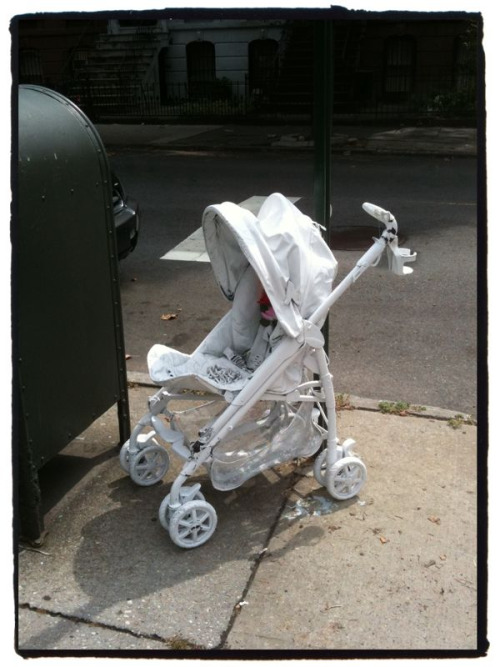 Da Ghost Stroller moves! TV-7 & 11 are here on the corner of 6th Ave & Berkeley Place. It moved from corner of 6th Ave & Union. #GhostBikes #ParkSlope
