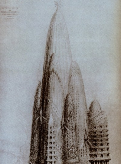 drawingarchitecture:  Tower proposal by Gaudi for New York City in 1908. more drawings  (via chazhuttonsfsm)