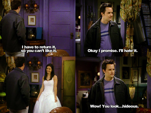 fuckyeahmondler:  (via fuckyeahfriendscaps)  7x17 TOW The Cheap Wedding Dress