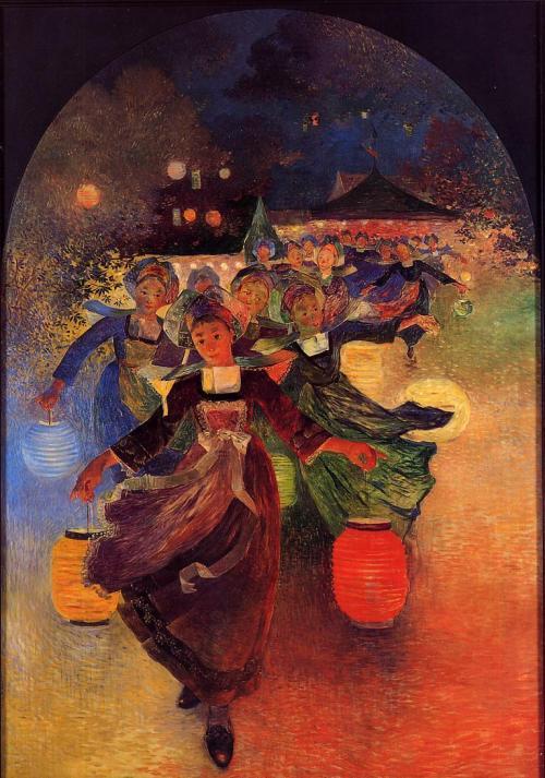 goodmemory:petitcabinetdecuriosites:moncabinetdecuriosites:my-ear-trumpet:missfolly:Breton Girls with Chinese Lanterns by Ferdinand du Puigaudeau, 1896