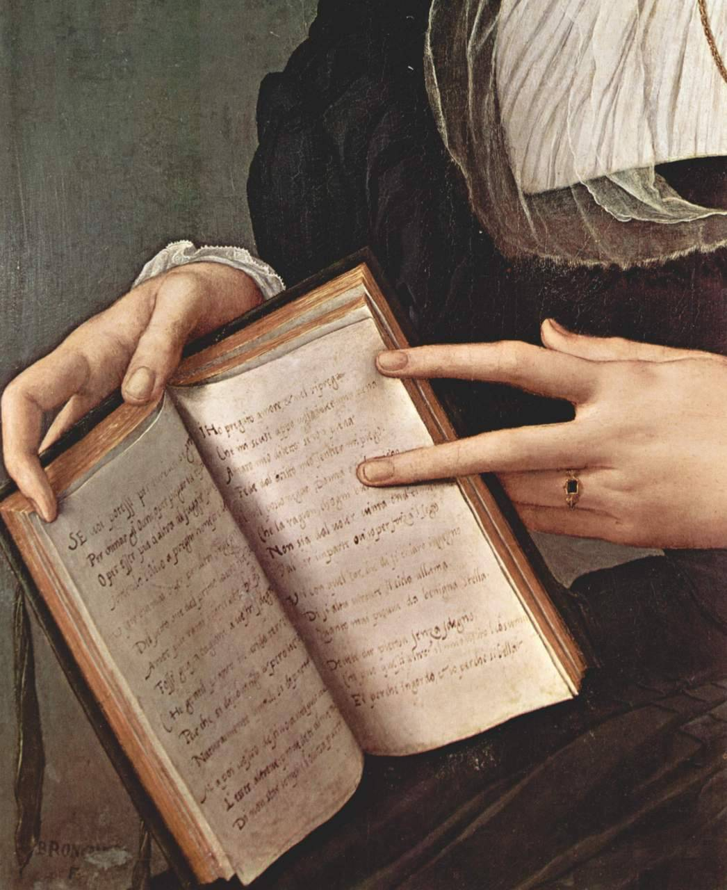 invisiblestories:  Portrait of Laura Battiferri with the Canzoniere (detail) by Angelo Bronzino, ca. 1550-1555 (via)