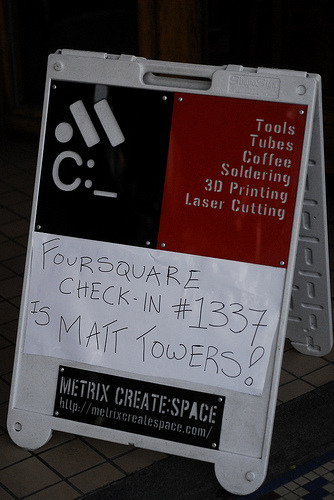 The winner of our leet Foursqare Check-In Challenge is Matt Towers! Matt, stop by so you can redeem your sheet's worth of free lasertime!