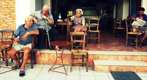 eilir:   Crete- The Old Greek Men cafe.