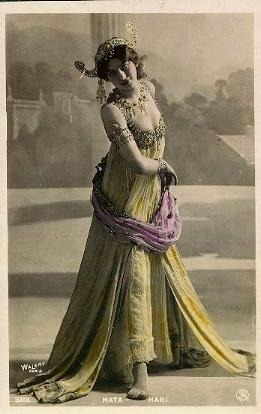 "Mata Hari - 1906 postcard This is the REAL Mata Hari, Margaretha Geertruida ""Grietje"" Zelle MacLeod, who was executed by firing squad for being a WWI spy… though she probably wasn't a spy.  This is not Theda Bara playing Mata Hari.  This IS Mata Hari.  May she be an inspiration to us all: Leave abusive situations.  Dance.  Live a life of Intrigue.  No Regrets. -downloaded Saturday, November 12, 2005 - from first, old ThinkPad -"