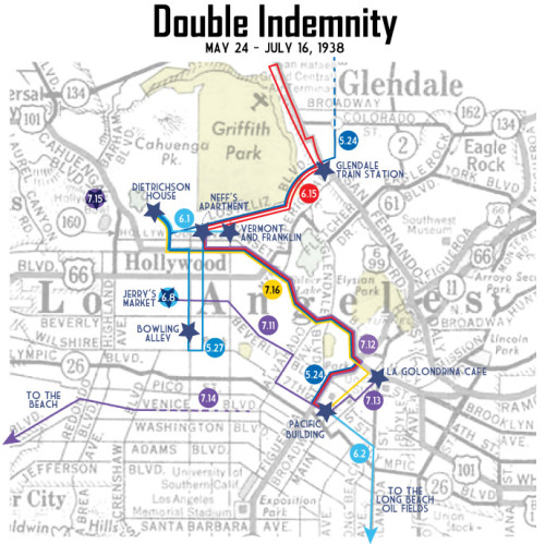 A map of the locations in Double Indemnity.