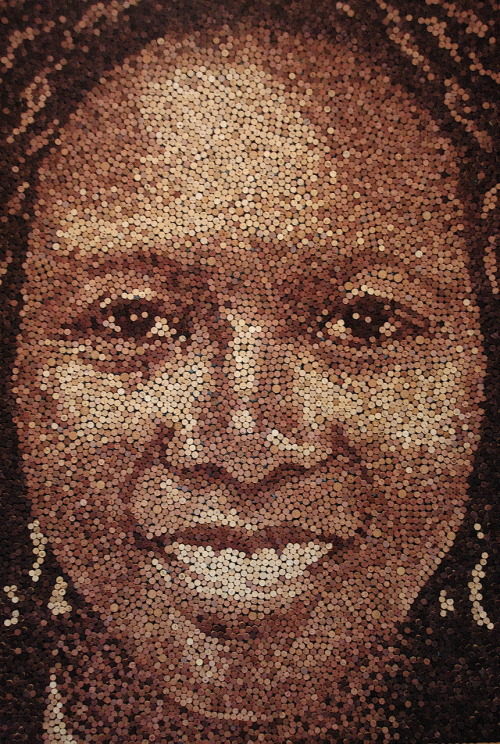 """Grace""  66"" x 96""  9,217 wine corks.  2010."