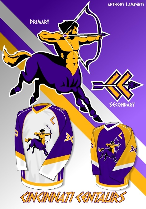 Another PuckDrawn contest submission. The Cincinnati Centaurs. Some of you may recognize this, I retooled an old concept I did for my high school. Like a professor of mine once said, if you're going to steal from anyone steal from yourself.