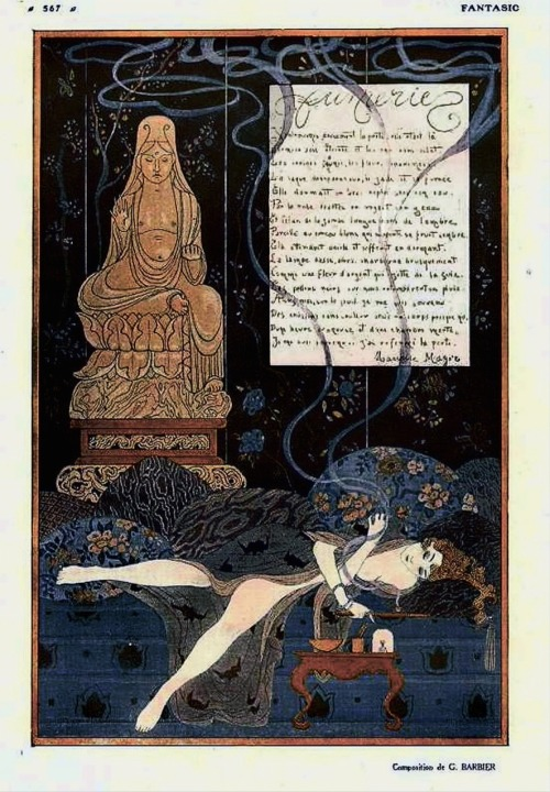 rebecasroom:  billyjane:  Fumerie  by George Barbier   Fantasio magazine, 1915 via stevechasmar