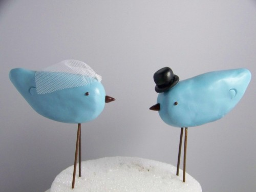 Custom Made Top Hat and Veil Love Birds Cake Topper by CountrySquirrelsRUS on Etsy.