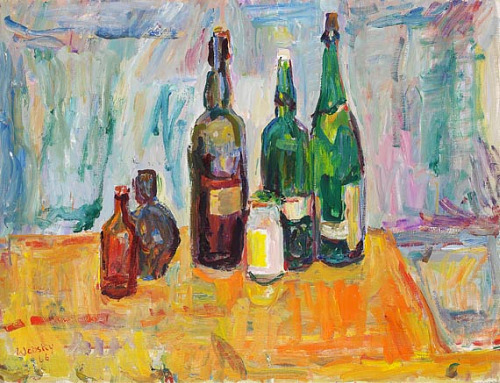 Wolfgang von Websy Still Life with Green Bottles on Red Tablecloth 1966
