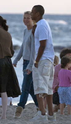 "Check out your boy Jay-Z with Gwyneth Paltrow and her husband at the Hamptons, not with the 'Adidas Campus' or the 'Izod Bucket'….but a pair of Louis Vuitton x Kanye West Don's. Who rocks Louis Vuitton Dons to the beach??! Hova, Hova, Hova! Guess that's why 'they love ya Jigga""!!!BK!!"