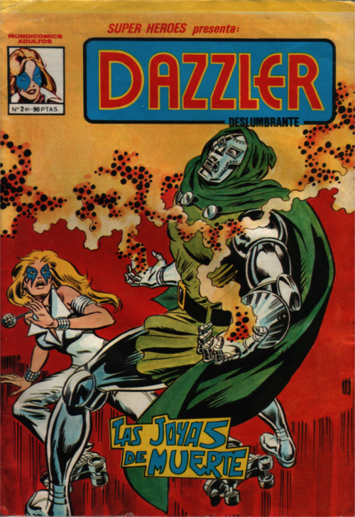 "The second (and last) issue of Dazzler edited in Spain by Editorial Vértice, November 1981. Reprints the last part of issue 1 and issue 2. After this, Editorial Brugera would edit under their ""Pocket de ases"" imprint a digest-sized volume containing the first seven issues of the regular series. (Submitted by captain-fur)"