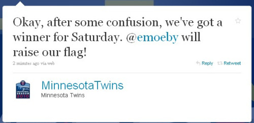 Hope your all attending the Tumblr Meetup at the Twins game this Saturday afternoon, cause I'll be raising the Twins Territory Flag during pregame!!!!  Trivia Questions:1. What was Kirby Puckett's batting average in 1987?.332 2. On August 30th, what team did Puckett hit 6-6 against?Milwaukee Brewers 3. When the Twins hosted the Allstar Game what were the bases painted to look like?Red, White, and Blue 4. How many Allstars did the Twins have in 1991?4 5. Who was the franchise's first pitcher to win the Triple Crown?Walter Johnson