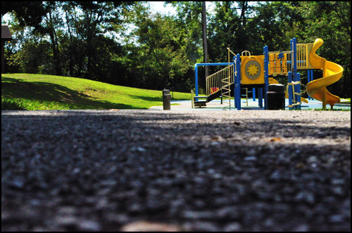 Deserted playground on a sunny day. [Photo by me.]