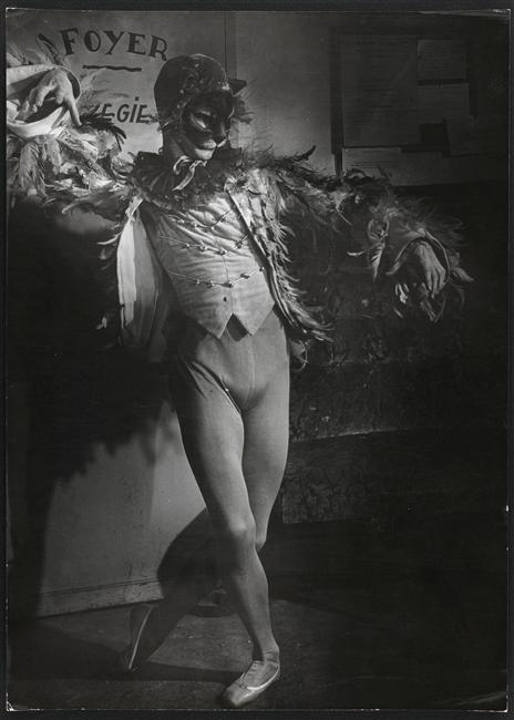 "Dancer in ""Les demoiselles de la nuit"" ballet *,1949 [costume designed by Leonor Fini] photo by Brassai * via RMN"