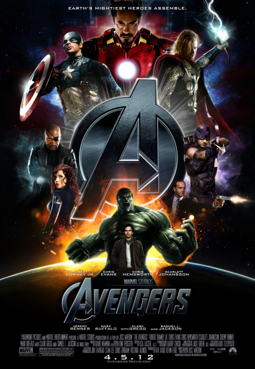 Fan poster for The Avengers —  If you know the poster's creator, please let me know, so I may credit them.  Joss Whedon's film hits theaters in May 2011.  Cast: Chris Hemsworth as Thor, Chris Evans as Captain America, Robert Downey Jr. as Iron Man, Scarlett Johansson as Black Widow, Mark Ruffalo as Bruce Banner, Samuel L. Jackson as Nick Fury, and Jeremy Renner as Hawkeye.