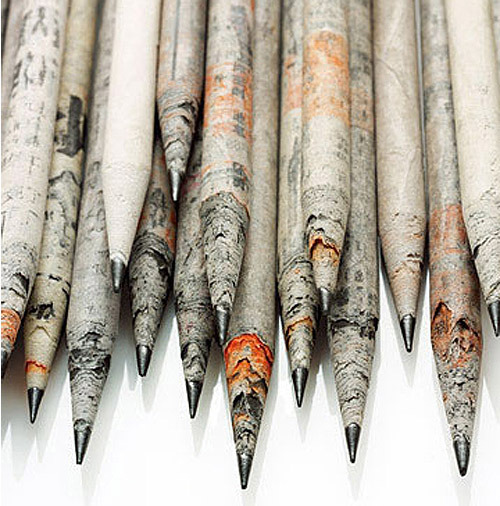 """Stylish, functional and very green - these pencils are made out of recycled newspapers."" — moleskinerie: TreeSmart newspaper pencils"