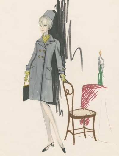 "defunctfashion:  Edith Head | Costume sketch for ""The Oscar"" 